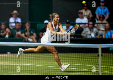 Wimbledon, UK. 11th July 2019, The All England Lawn Tennis and Croquet Club, Wimbledon, England, Wimbledon Tennis Tournament, Day 10; Barbora Zahlavova Strycova (CZE) with a volley at the net to Serena Williams (USA) Credit: Action Plus Sports Images/Alamy Live News - Stock Image
