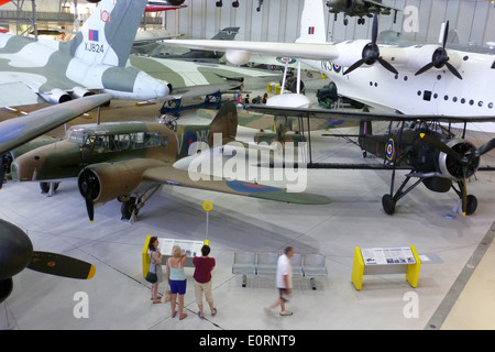 Visitors at the Imperial War Museum, Duxford, Cambridgeshire. - Stock Image