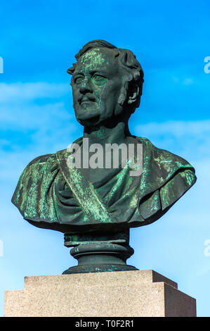 Bust of General Frederik Rubeck Henrik von Bülow, a Danish commander and hero of the Battle of Fredericia 1849 - Fredericia, Denmark. - Stock Image