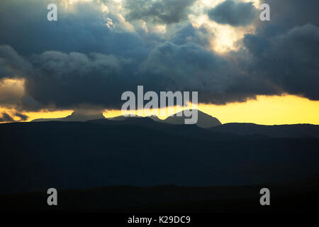 Looking towards Great Gable and Pillar from Red Screes in the Lake District, UK. - Stock Image