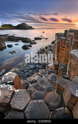 Giants Causeway at dusk, Northern Ireland. - Stock Image
