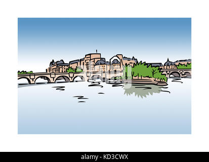 Illustration of Ile Saint-Louis, Paris, France - Stock Image