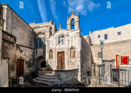 The small Church of San Biagio in the city of Matera, Italy - Stock Image