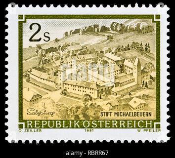 Austrian postage stamp (1991) : Monasteries and Abbeys series: Benedictine Abbey, Michaelbeuren / Stift michaelbeuren - Stock Image