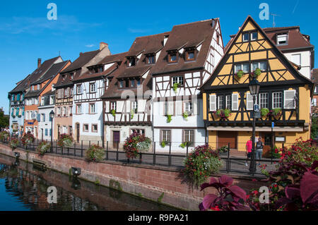 Canalside houses in Colmar, Alsace, France - Stock Image
