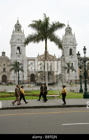 Cathedral of Lima, Plaza Mayor or Plaza de Armas, Lima, Peru, South America - Stock Image