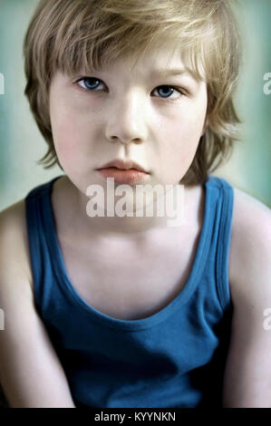 Portait of cute blond boy - Stock Image