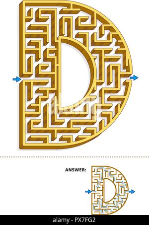 Learning alphabet activity - letter D three-dimensional maze. Use it as is or add fun cartoon characters. Answer included. - Stock Image