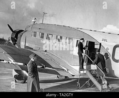 A Junkers Ju 52 of the Danish airline DAL on the apron of the airport Berlin-Rangsdorf. - Stock Image