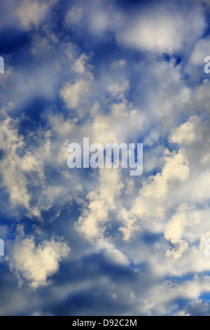 Vertically framed view of some early morning clouds overhead. - Stock Image