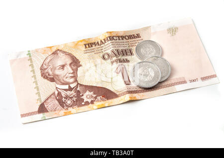Transnistrian ruble and kopeks on a white background - Stock Image