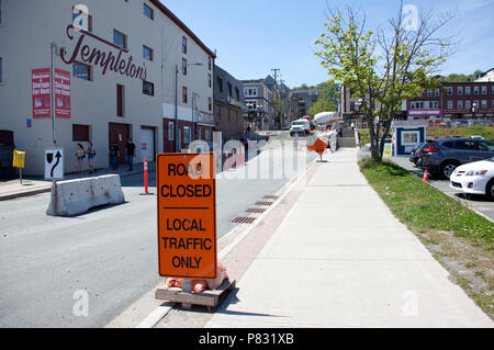 June 23, 2018- St. Johns, Newfoundland: Road closed by Bishop's, Adelaide and Water Street for summer construction - Stock Image