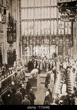 The funeral of King George V, atteneded by Kings and members of many European royal families, in the Chapel of St George  in Windsor Castle, Berkshire, England on the 28th January 1936. - Stock Image