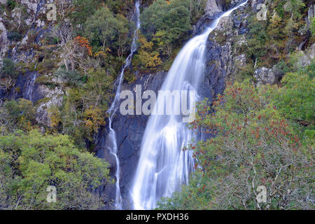 Aber Falls is in the Snowdonia National Park where the Afon Goch plunges from the Carneddau Range close to the village of Abergwyngregyn. - Stock Image