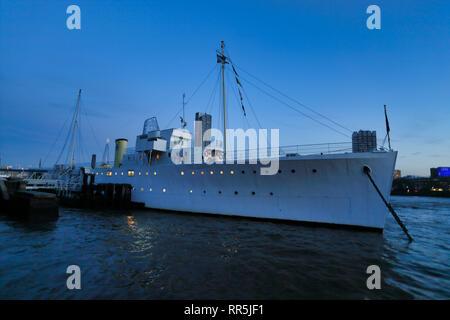 HMS Wellington moored on the river Thames, London, England, UK - Stock Image