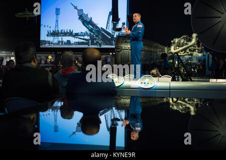 NASA astronaut Jack Fischer speaks about his time onboard the International Space Station (ISS) during Expeditions - Stock Image