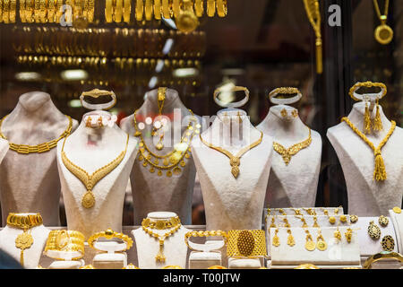 Gold Jewelry disposed in a store in Grand Bazaar, Istanbul - Stock Image