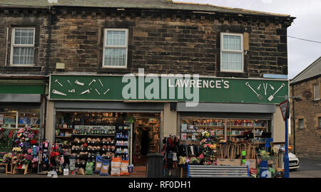 Lawrence's Hardware Shop Amble  Amble is a small town on the north east coast of Northumberland in North East England, with this being the DIY shop - Stock Image