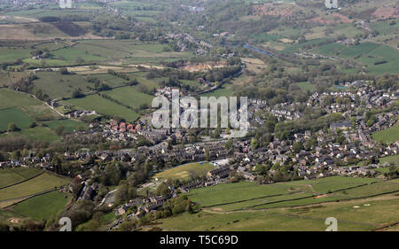 aerial view of Hayfield village in High Peak Parish, Derbyshire - Stock Image