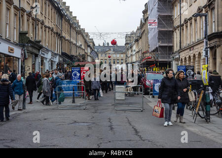 A view of the crowds on Milsom Street on the opening weekend of the 2018 Christmas street market in Bath North East Somerset - Stock Image