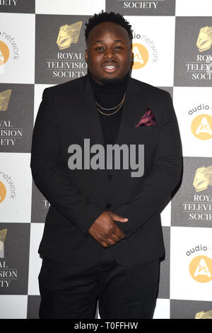 LONDON, UK. March 19, 2019: Samson Kayo arriving for the Royal Television Society Awards 2019 at the Grosvenor House Hotel, London. Picture: Steve Vas/Featureflash Credit: Paul Smith/Alamy Live News - Stock Image