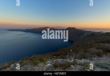 Panoramic view of Santorini and in the background oia village - Stock Image