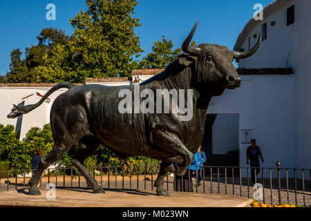 RONDA, ANDALUSIA / SPAIN - OCTOBER 08 2017: BLACK OX SCULPTURE - Stock Image