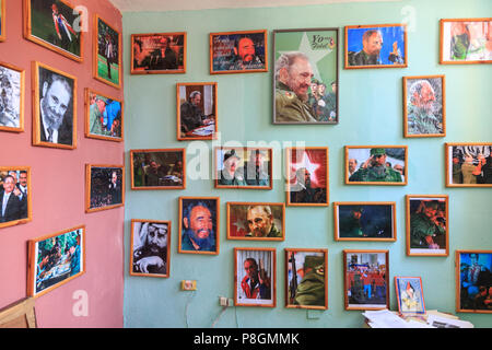 Pictures of Fidel Castro displayed at the local assembly building, Asamblea Nacional del Poder Popular in Regla, Havana, Cuba - Stock Image