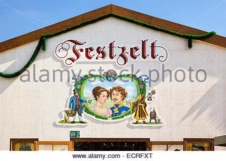 Festzelt (pavillion, marquee) Bierhalle at 200th Anniversary of Ludwig I to Therese von Sachsen-Hildburghausen, - Stock Image