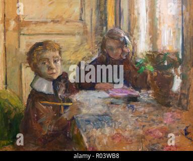 Annette and Jacques Roussel Doing their Homework,  Edouard Vuillard, 1897, Zurich Kunsthaus, Zurich, Switzerland, Europe - Stock Image