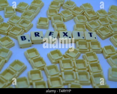 Brexit written with Scrabble tiles - Stock Image