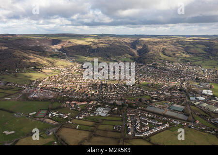 An aerial view of the Somerset village of Cheddar and surrounding countryside - Stock Image