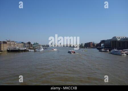 River Thames from Tower Bridge, London, UK - Stock Image