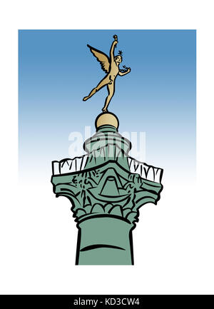 Illustration of the GŽnie de la LibertŽ statue atop the Colonne de Juillet, Place de la Bastille, Paris, France - Stock Image