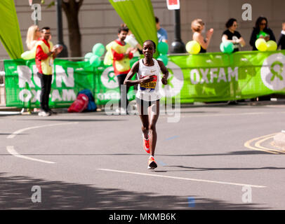 Rose Chelimo competing for   Bahrain, in the 2018 Elite Women's London Marathon. She went on to finish 6th, in a time of 02:26:03 - Stock Image