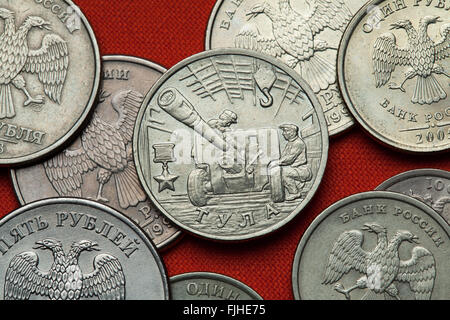 Coins of Russia. Artillery factory in Tula during World War II depicted in the Russian commemorative two ruble coin - Stock Image