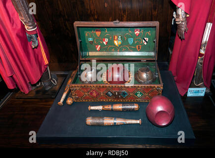 Quidditch gear at the Making of Harry Potter Studio Tour, Warner Brothers Studio, Leavesdon - Stock Image