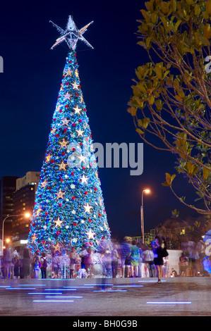 Worlds largest solar-powered Christmas tree at King George Square, Brisbane Australia - Stock Image