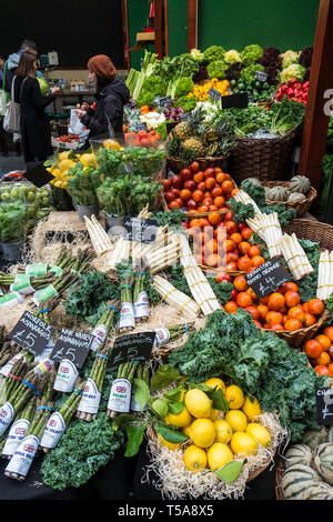 Fresh fruit and vegetables for sale in Borough Market in London. - Stock Image