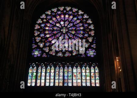 North rose window including lower 18 vertical windows of Notre Dame de Paris, France - Stock Image