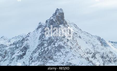Courchevel 1850 Aiguille de Fruit Mountaain Peak Ski Resort Les 3 Vallees Rhone Alpes Savoie France La Saulire Cablecar to the top - Stock Image