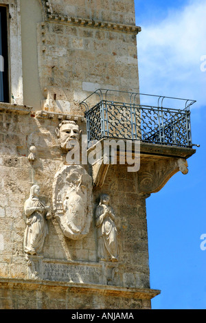 historic balcony on the Palazzo del Capitano in Ascoli Piceno's exquisite Piazza del Popolo in Le Marche Italy - Stock Image