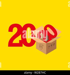 2020 Numbers, New Year Symbol, Open Package. Merry Christmas, Secret Santa Gift Background, Template. Christmas Greeting Card. Vector Illustration. - Stock Image