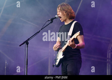 Mattie Vant performing with indie band VANT in 2017. They released their debut album Dumb Blood and split in the same year. - Stock Image