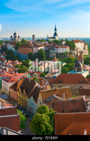 Tallinn Old Town, view across the roofs of the medieval Old Town quarter in the center of the city towards Toompea Hill, Tallinn, Estonia. - Stock Image