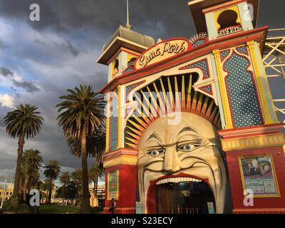 Luna Park in Saint Kilda Melbourne - Stock Image