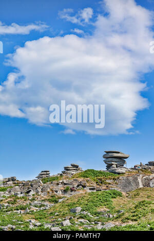 3 July 2018: Bodmin Moor, Coprnwall, UK - Stowe's Hill with the Famous Cheeswring and other granite Tors on a beautiful summer day. - Stock Image