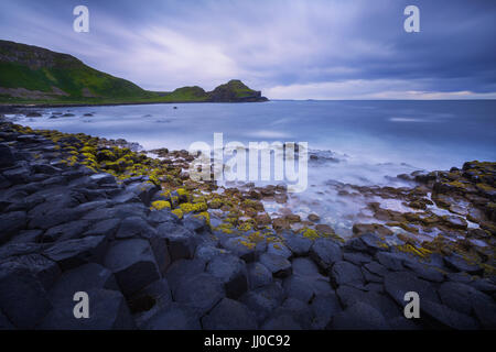 sunset over rocks formation Giant's Causeway, County Antrim, Northern Ireland, UK - Stock Image
