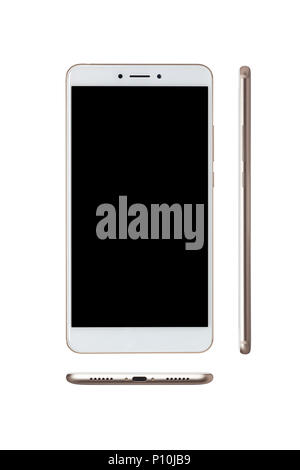 Front and side view of a smartphone isolated on white background - Stock Image