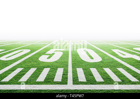 Close up of American football stadium field with yard line markings and white background for copy space. - Stock Image